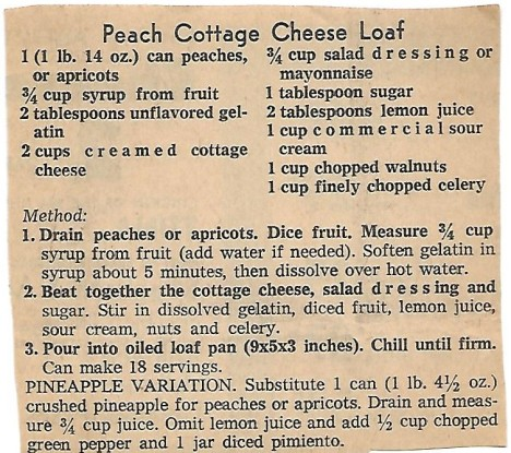 Peach Cottage Cheese Loaf
