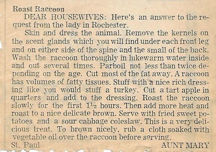 Roast Raccoon